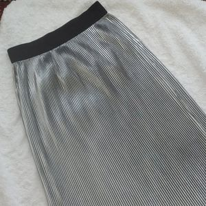 Asos silver pleated midi skirt